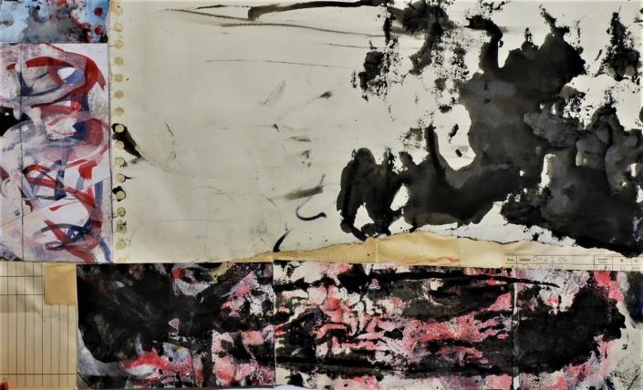 Tuschen, Bleistift, Collage, 2021, o.T. (aber landschaftlich)
